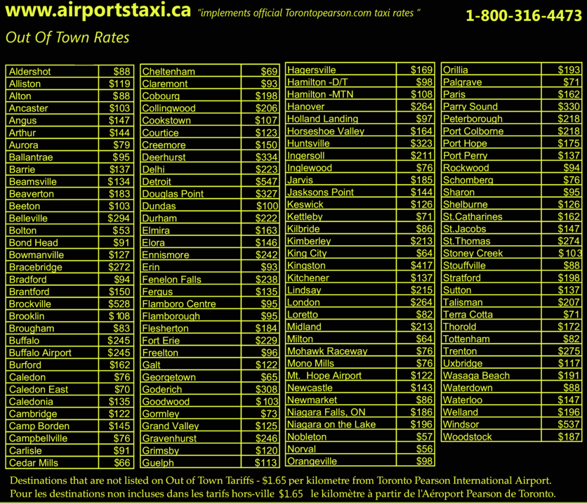 Out of Town Airport taxi rates